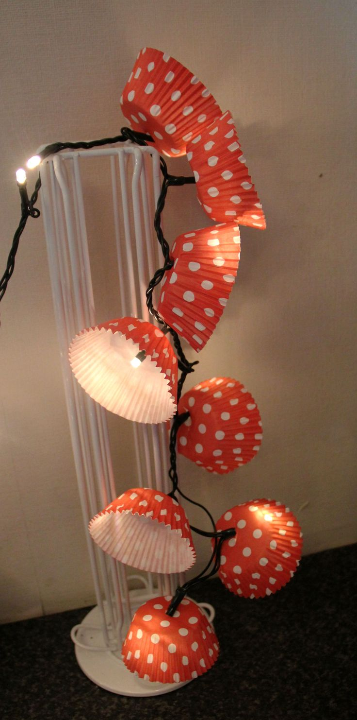 DIY cupcake paper laterns. Fairy lights.  #fairylights