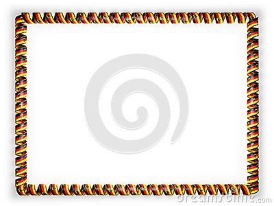 Frame and border of ribbon with the Germany flag, edging from the golden rope. 3d illustration.