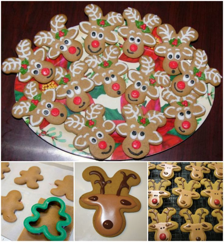 Gingerbread Reindeer Cookies | Christmas Cookies | Upside down Gingerbread Men cutter