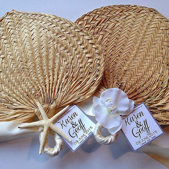 These palm leaf hand fans are great for wedding favors, ceremony programs, or place cards! They are perfect for an outdoor spring or summer
