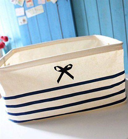"Hiware Cotton and Linen Foldable Storage Baskets, Fabric Bins, Navy Cube Storage Bins, Fabric Cubes, Fabric Storage Bins (Blue Stripe, 13.38""x9.84""x7.09"")"
