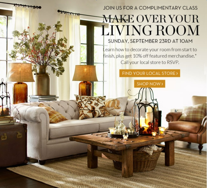 Pottery Barn Inspired Living Room. Love The Coffee Table With Basket  Underneath