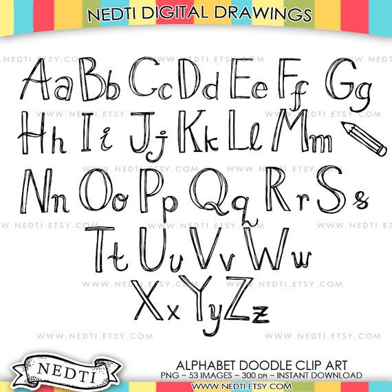 Alphabet Doodle Hand Drawn Clipart Uppercase and by Nedti on Etsy
