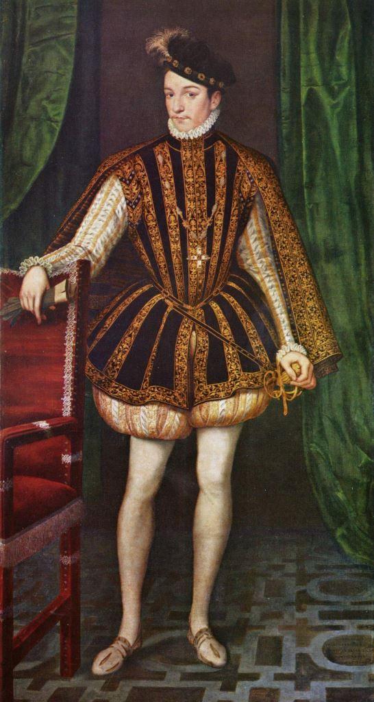 François Clouet.  Porträt des Königs Karl IX. von Frankreich. 1560, Öl auf Leinwand, 222 × 115 cm. Wien, Kunsthistorisches Museum. Frankreich. Renaissance.  KO 02577