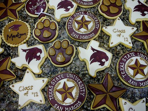 cuteee!! I WANT THESE FOR GRADUATION!!!  Sorry people, I called and this lady is booked!! No TxSt Graduation cookies!  Cake Doctor buda, Tx