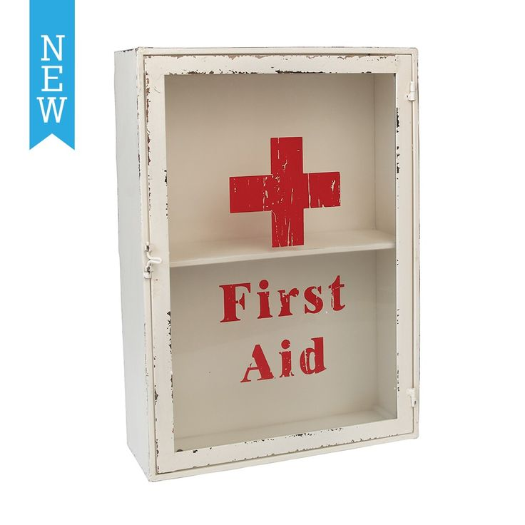 Vintage First Aid Cabinet | DotComGiftShop.  Neat & simple Red & White Vintage First Aid Box Cabinet