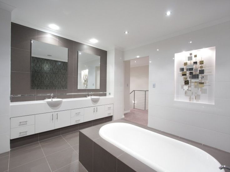 Lovely colour tiles if kept to floor, mix with black/brown vanity and above vanity basins