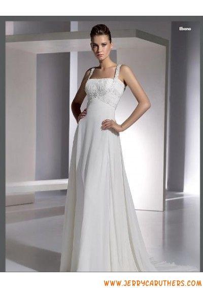 2013 recht hals met Kralen riems A-Lijn /prinses Rok chiffon trouwjurk