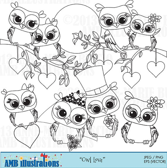 40% OFF Cute OWL digital stamp, commercial use, vector graphics, digital stamp, digital images - AMBST369
