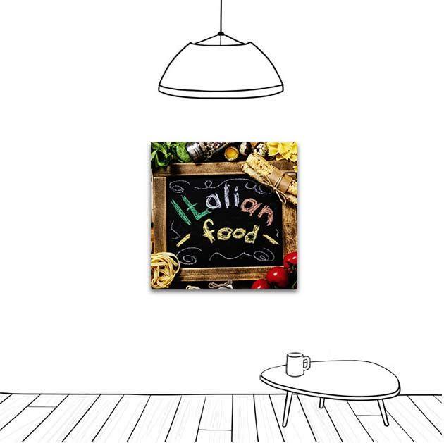 Italian food, les spécialités italiennes dans un tableau décoratif.