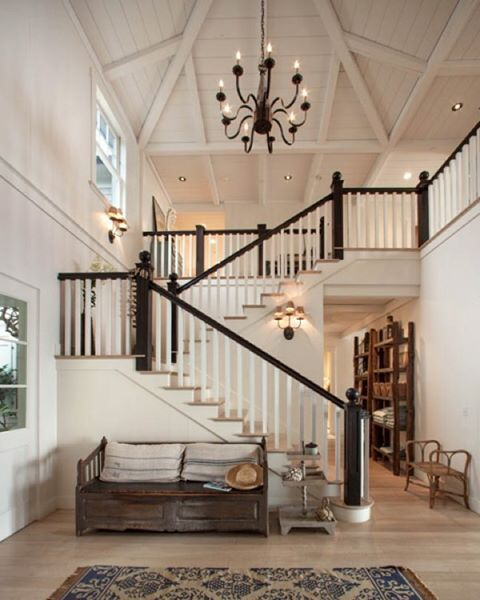 - cream walls + contrasting staircase.