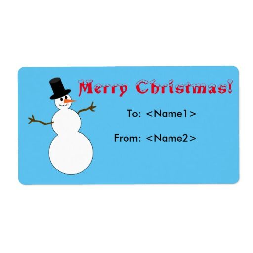 Snowman Merry Christmas Shipping Label