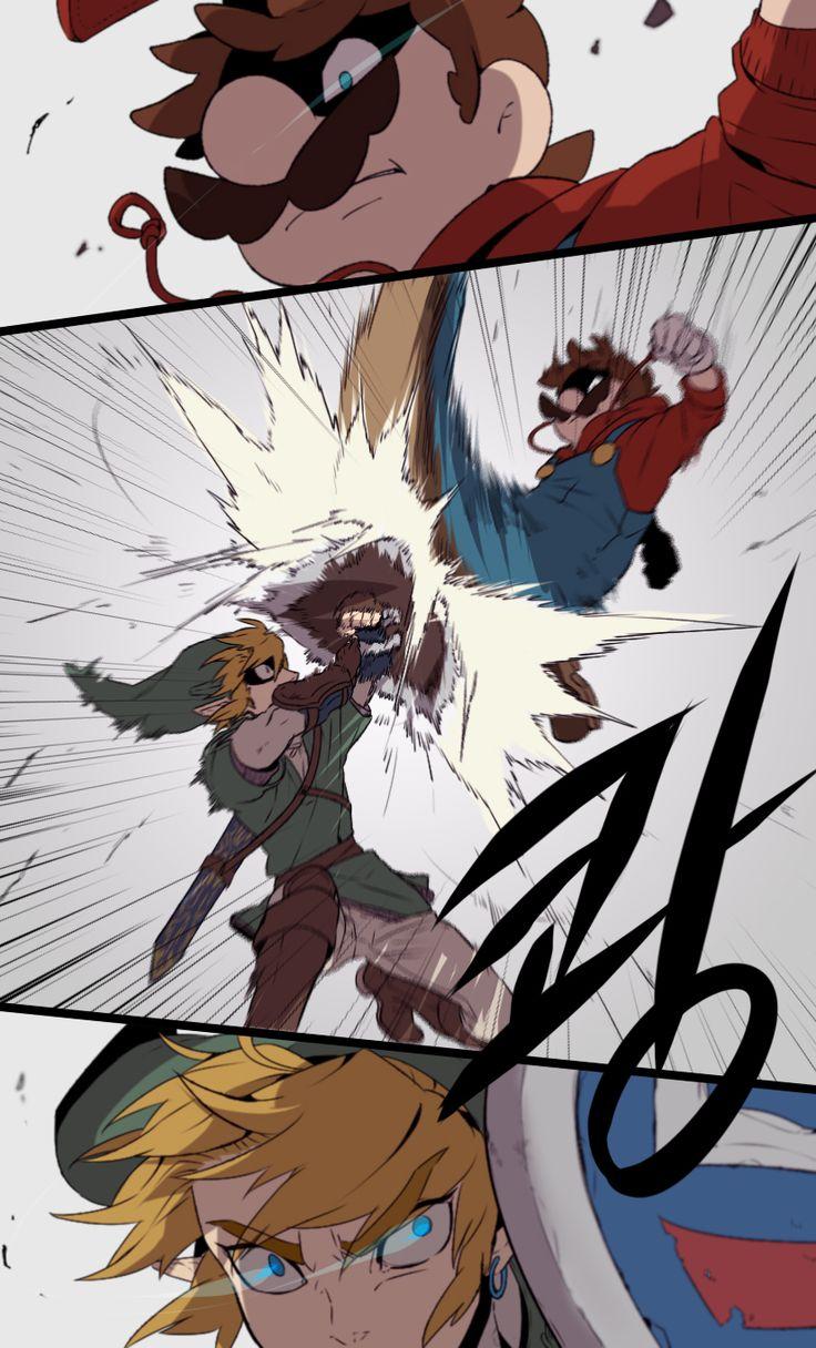 Mario vs Link - credit to redlhz.tumblr.com