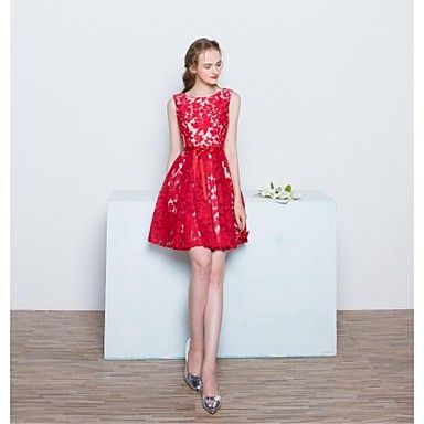 Short+/+Mini+Lace+/+Satin+Bridesmaid+Dress+-+A-line+Scoop+with+Bow(s)+/+Lace+–+USD+$+69.99