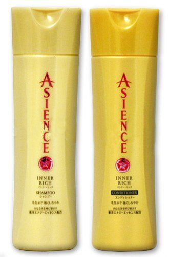 KAO Asience Inner Rich Hair Care Set - Shampoo & Conditioner Set - Regular Size Bottles - 220ml ea. by Asience. $19.75. Eucalyptus extract protects hair and restores lost shine, while rice germ oil strengthens and moisturizes. Contains natural essences of soy and pearl protein, which revitalize hair that has lost protein. Daily TLC for your hair, both the Shampoo (4056) and Conditioner (4057) come in large bottles with pump dispensers for one-handed convenience i...