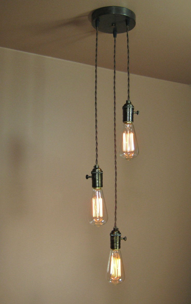 3 pendant light kit. 3 Light Chandelier - Cascading Pendant Lights With Edison Bulbs Minimalist Home Decor. Kit N