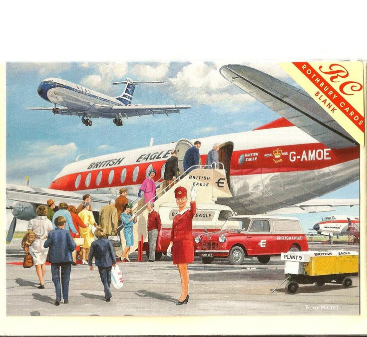 Everyone wanted to cash in on the glamour of the VC10, even those operators not actually flying the aircraft. Here, a British Eagle Airways poster advertising its Vickers Viscount services features a BOAC Standard VC10 (Series 1100) on final approach to land, flying over. #aviationglamourstyle
