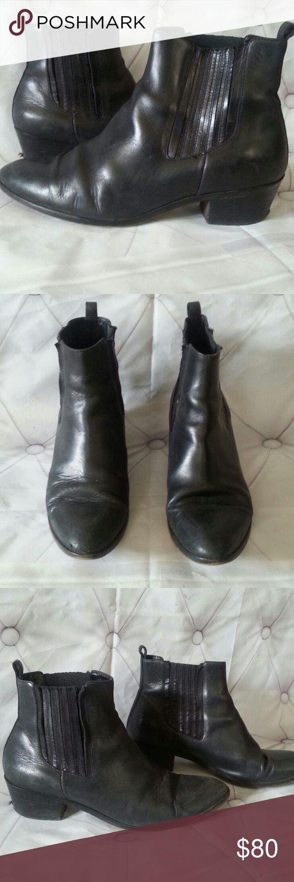 J Crew Charcoal Black Leather Ankle Boots sz 7.5 Well-Loved Broken In J Crew Ankle Boots sz 7.5. Has normal wear over time.Gives it better look over time.Has great character. Heel has some minor wear, can leave as is or have cobbler fix.Great find.Still great for summer with shorts and even better for fall.  Heel height approx 1.5-2 inches j crew Shoes
