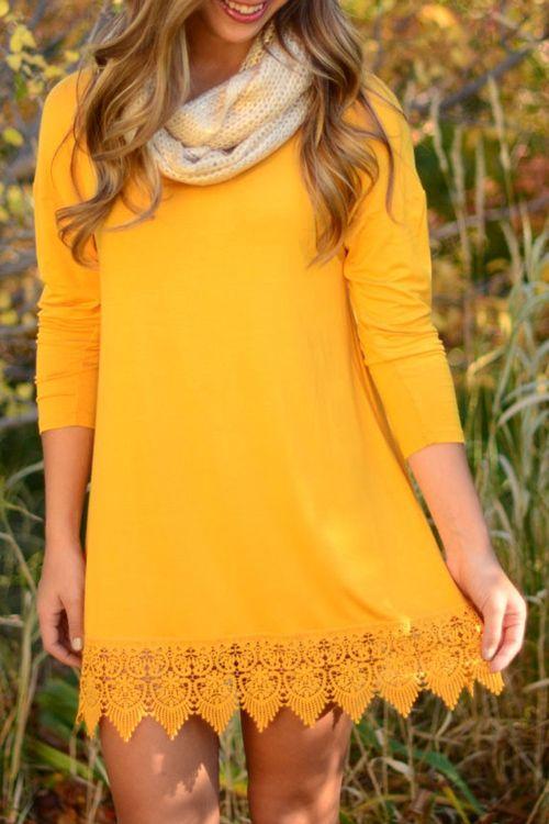 Yellow Lacework Long Sleeve Dress