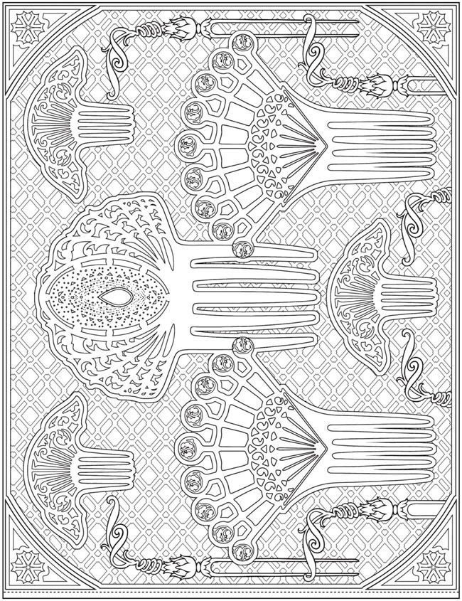 ESCAPES Fashion Art Coloring Book by: Marty Noble - Welcome to Dover Publications - Coloring Page 3