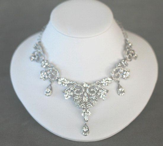 Rhinestone Bridal Necklace - Vintage style Crystal Necklace - Statement necklace. $129.00, via Etsy.