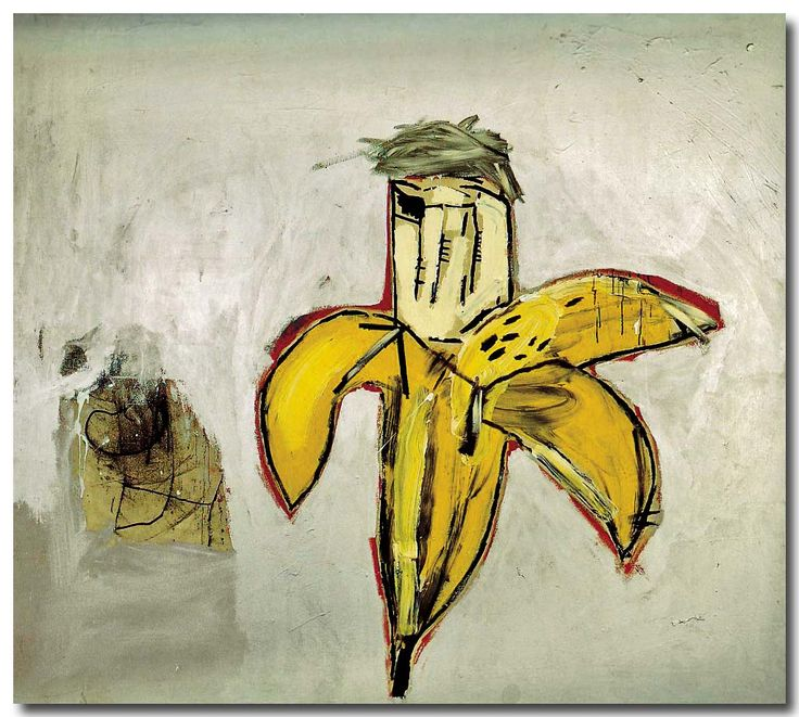 "Jean Michel Basquiat - ""Brown Spots"" (Portrait of Andy Warhol as a Banana), 1984"