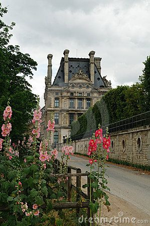 Outside of the Louvre, Paris, with pink hollyhocks