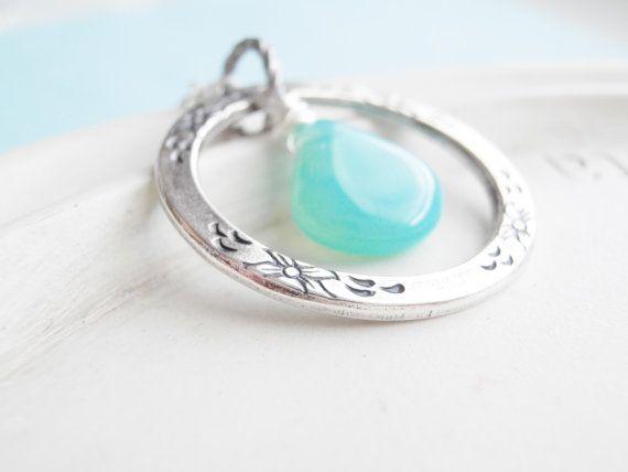 Eternity Ring Necklace - Aqua Teardrop Necklace