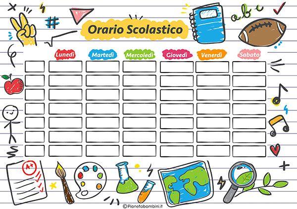 10 Tabelle dell'Orario Scolastico da Stampare | Orario scolastico,  Programma scolastico, Matematica delle scuole superiori