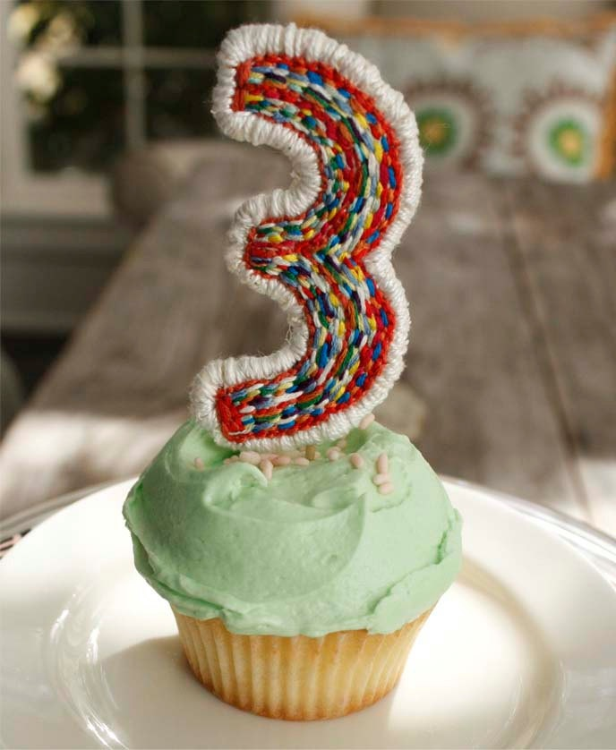 Embroidered Number Cake Topper - Monica Lynch