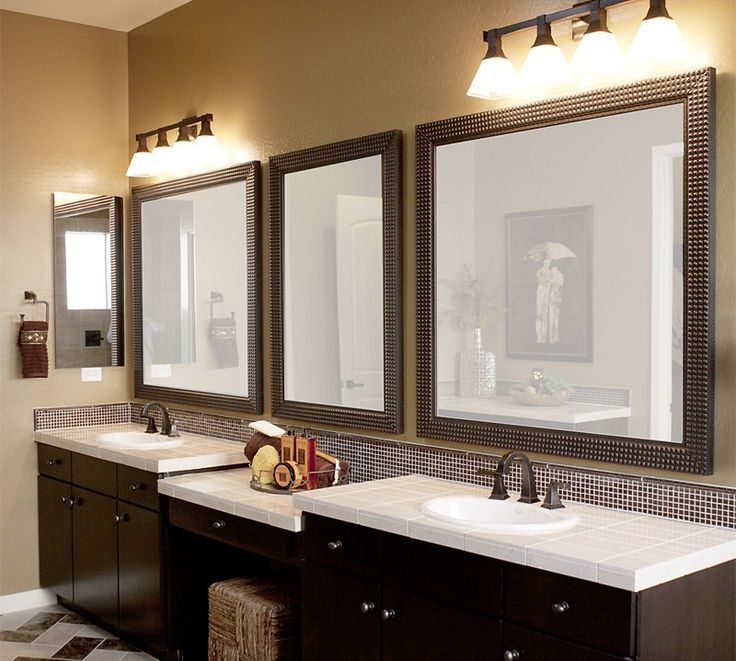 brown framed bathroom mirrors