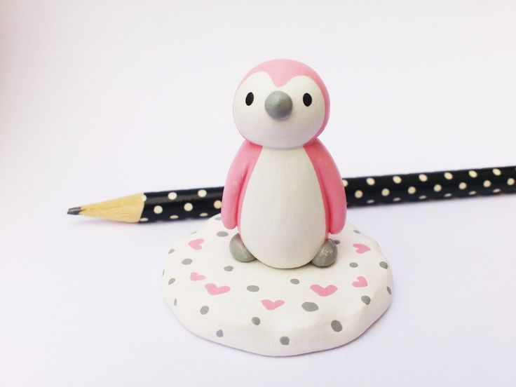 Pink penguin, grey and pink miniature pottery penguin, ceramic penguin gift, girl cake topper, pink polka dot and hearts by byKateElford on Etsy