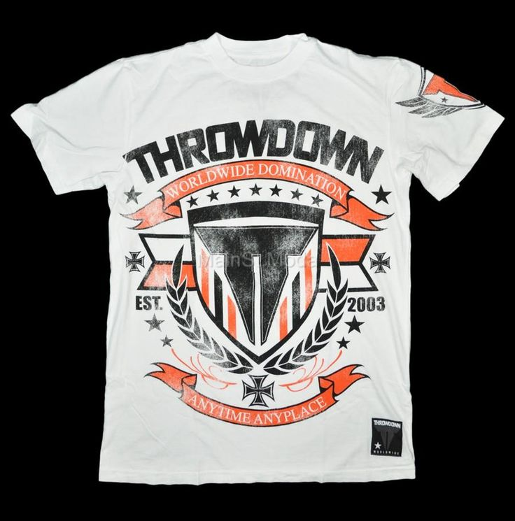 new throwdown logo men 39 s t shirt mma us made white black orange rock ss tee. Black Bedroom Furniture Sets. Home Design Ideas