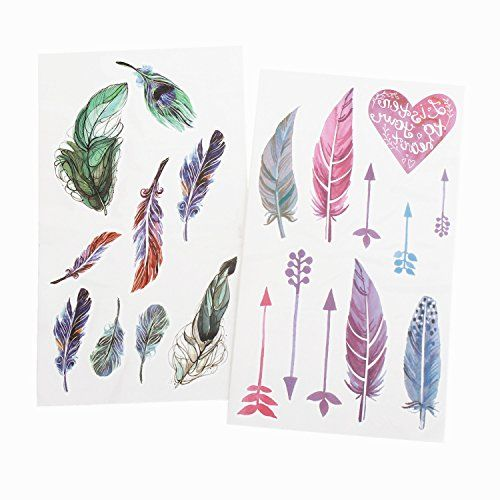 BTArtbox 2 Sheets Colorful Feather Bow Heart WaterProof Temporary Tattoo Printer Paper Body Art Transfer Sticker for Women, Girls. NOT-TOXI; non-toxic materials standard and fun for all ages, including kids & adults, and safe to use on skin. LONG LASTING; it is last for 1-5 days with good care, long enough to look great at your weekend party or day at the beach. WATERPROOF; it will still stay on well with normal washing, shower and anywhere. UNIQUE DESIGN; our tattoos are 3D Patterns, it…