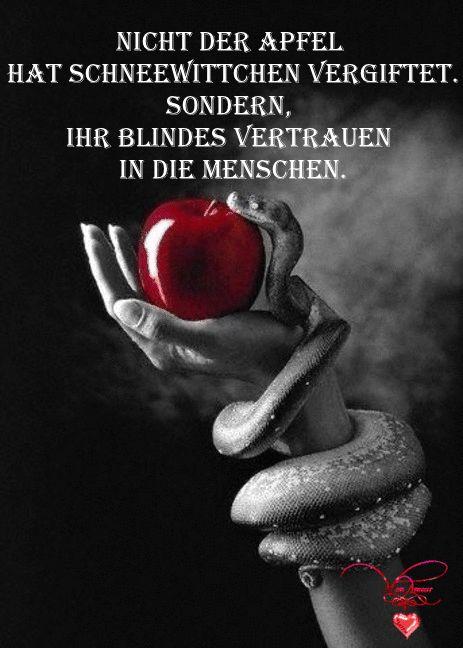 Nicht der Apfel hat Schneewittchen vergiftet. Sondern, ihr blindes Vertrauen in die Menschen. – Moni