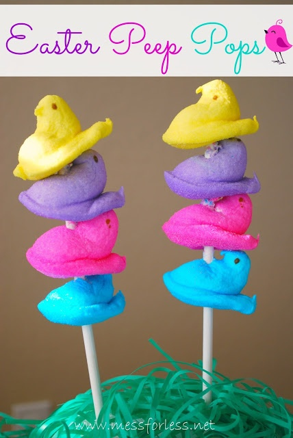 Easter Peep Pops - Various colored Peeps and a stick. Doesn't get much easier than this to create an Easter treat. #easter #peeps