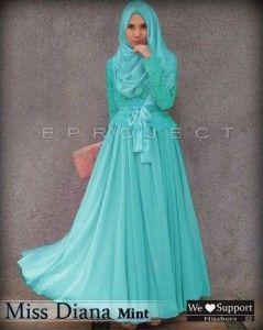 Baju muslim modern syar'i gamis miss diana mint