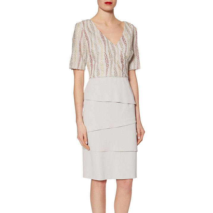 Buy Gina Bacconi Crepe Dress With Embroidered Mesh Bodice, Silver Mist from  our Women's Dresses range at John Lewis.