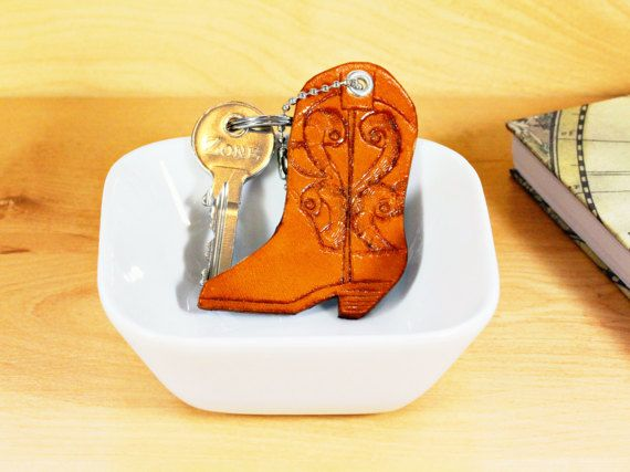 Unique Gift For Her Hand Carved Cowgirl Boot  Leather Keychain by TinasLeatherCrafts on Etsy.com.  Repin To Remember.