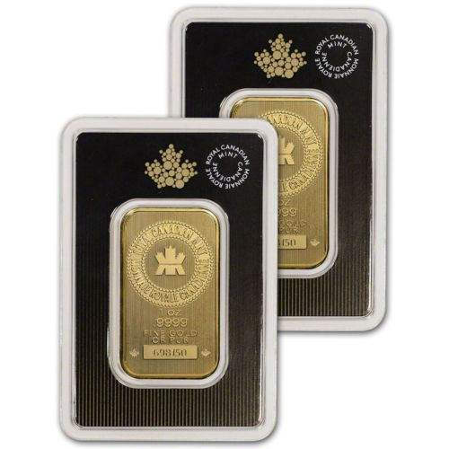 1 Oz Gold Bar Royal Canadian Mint Rcm 9999 Fine In Assay Two 2 Bars Gold Bars For Sale Gold Coins Sterling Silver Bar Necklace