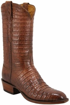 Mens Lucchese Classics Tan Burnished Caiman Crocodile Belly Custom Hand-Made Cowboy Boots L1348