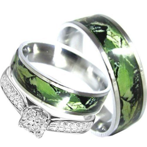 His And Hers Camo Matching Stainless Steel Sterling Silver Engagement Wedding Rings Set Size Men 11 Women 5 Continue To The Product At Image Link