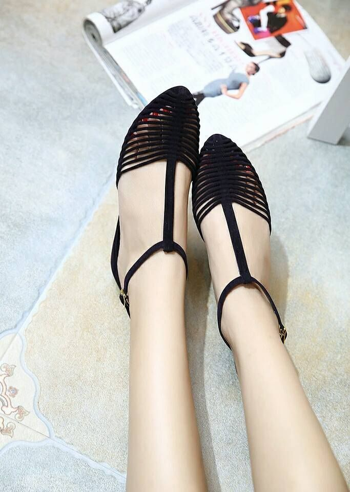 `Stylish Vintage roman style lady flats jelly shoes pointed toe Design #JellyShoesVintage