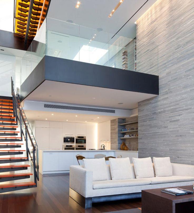 Modern Minimalist New York Triplex Apartment Dramatic Interior With Wo Story Vals Quartzite