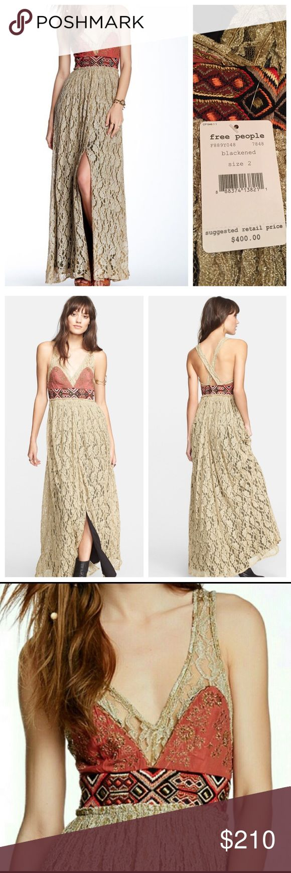 """Free people crushed gold lace maxi party dress This is an exquisite dress and the picture doesn't do it justice. Lightweight threads craft a floor-sweeping maxi dress embellished with gold lace embroidery at the sleeveless V-neck bodice and a woven geo-print band at the Empire waistline for a colorful contrast detail. Metallic stitching, crochet overlay, beaded detail, front slit, back crisscross detail, side zip and hook closure, lined. Length: 58""""; Bust: 32""""; Waist: 24.5"""" (Size 2). Free…"""