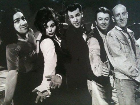Andrew Collins, Caitlin Moran, Johnny Vaughan, Stuart Maconie, Michael Smiley - promo shot from C4′s early-90s youth TV show Naked City.