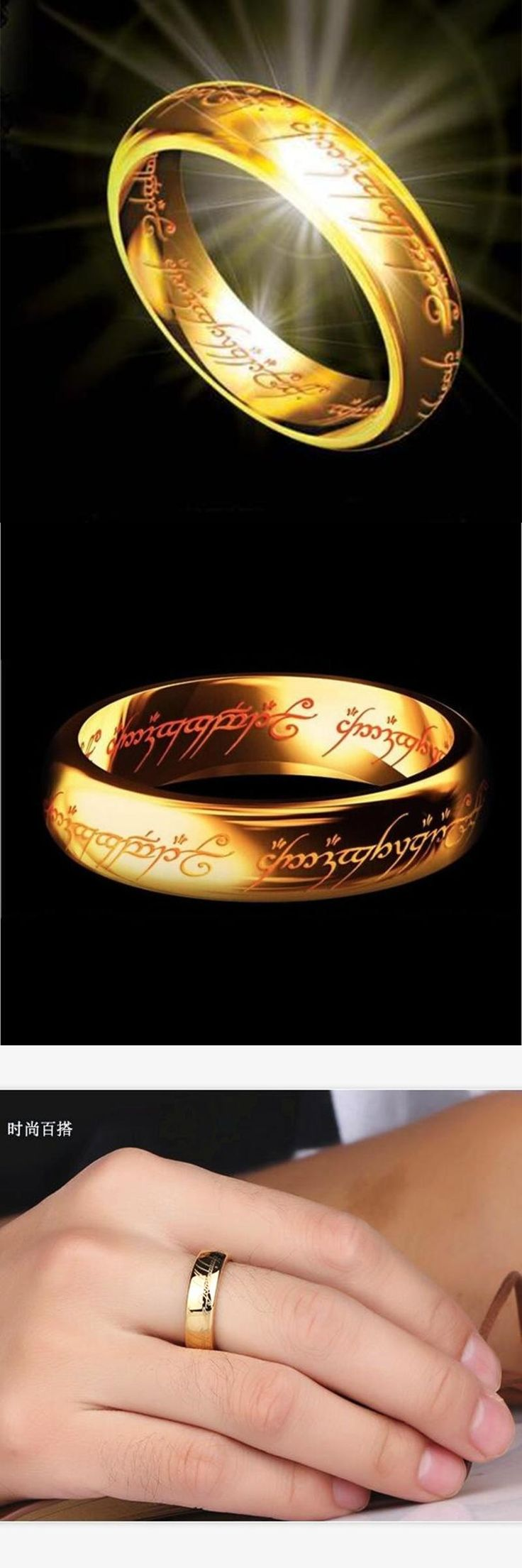 New Fashion Hobbit Letters Male Gift Midi Ring Tungsten One Ring of Power Gold the Lord of Ring Women and Men Free Drop ship