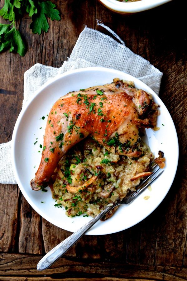"""Roast Chicken on Wild Mushroom Sticky Rice """"Risotto"""", no more slaving over the hot stove"""
