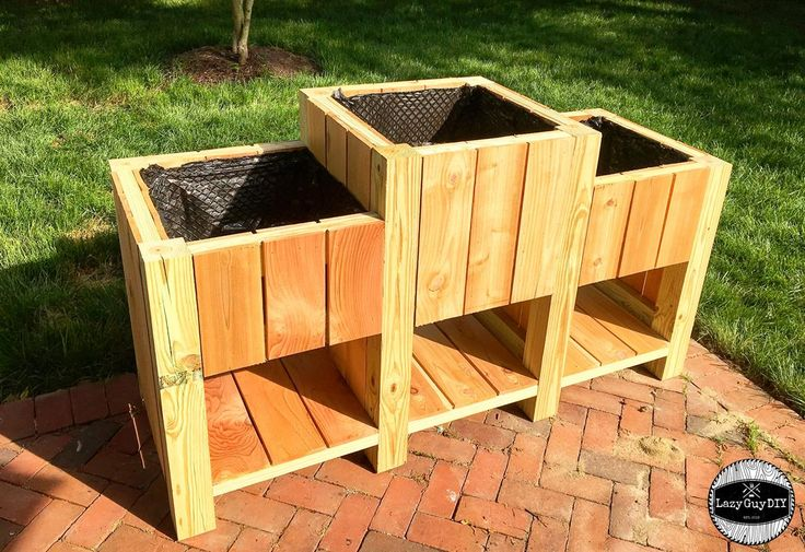 This DIY tiered raised garden is a perfect fit for any yard or porch with pesky rabbits that might want to steal your veggies.  It's made with cedar planks that are rot resistant and pressure treated lumber for the frame only.  Veggies and dirt are in contact with the cedar and gardening cloth only.