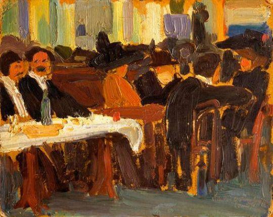"Amadeo de Souza-Cardoso, ""Cafe in Paris"", 1908"